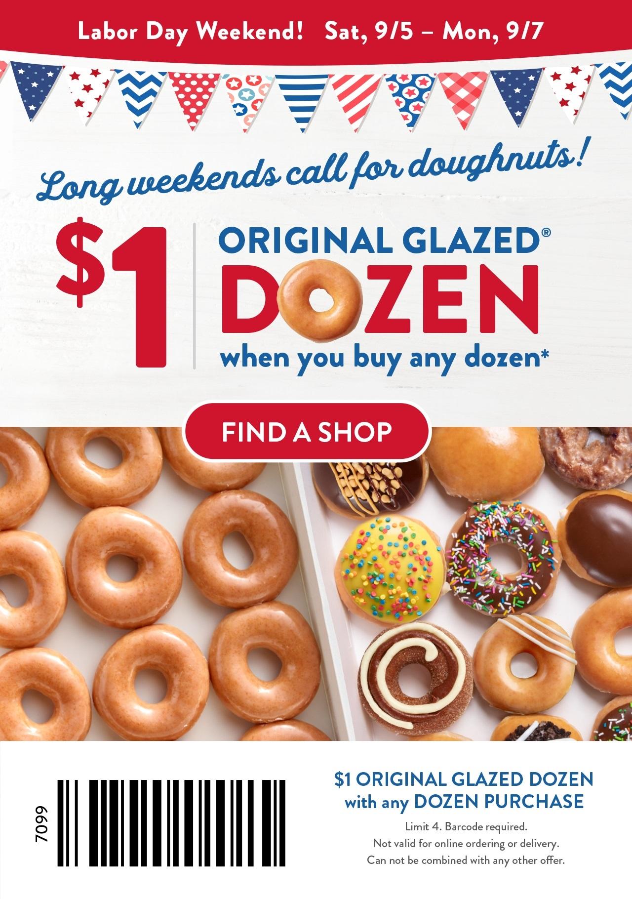 Krispy Kreme - $1 Dozen when you purchase any dozen - Valid 9/5 - 9/7