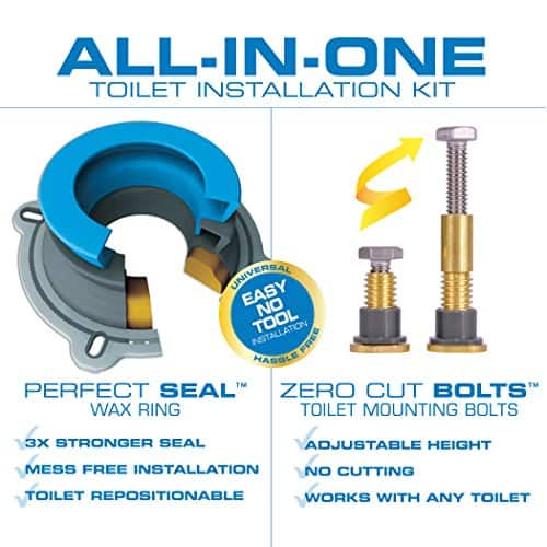 NEXT BY DANCO All-in-One Toilet Installation Kit | Perfect Seal Wax Ring & Zero Cut Bolts | Toilet Repair | Wax-Free | Mounting Toilet Bolts (10879X) $11.28