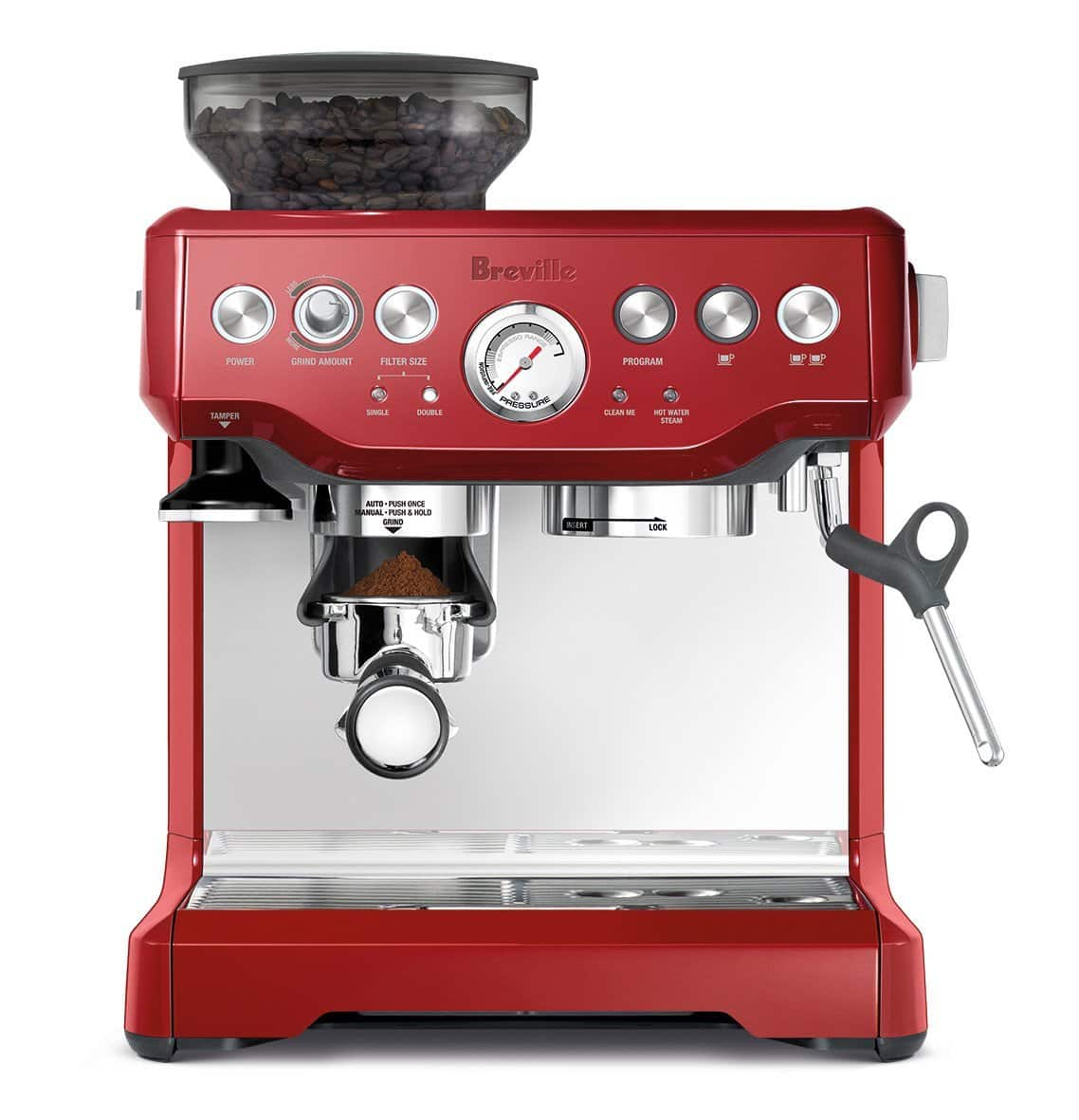 Breville BES870XL Red Color The Barista Express™ Espresso Machine $449+tax at amazon