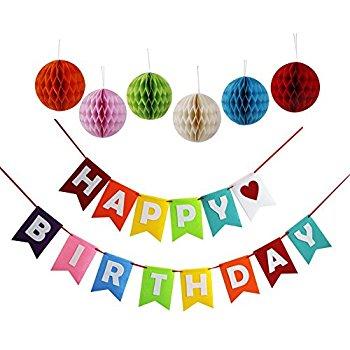 Threemart Birthday Decoration Banner With Six Pom Pom Balls - Amazon $6.99