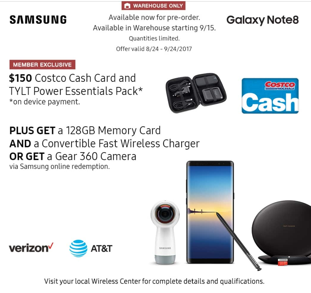 Pre order Samsung Galaxy Note 8 - get $150 Costco cash card + TYLT kit + 128 gb memory card + Convertible fast wireless charger or Gear 360 camera @ Costco