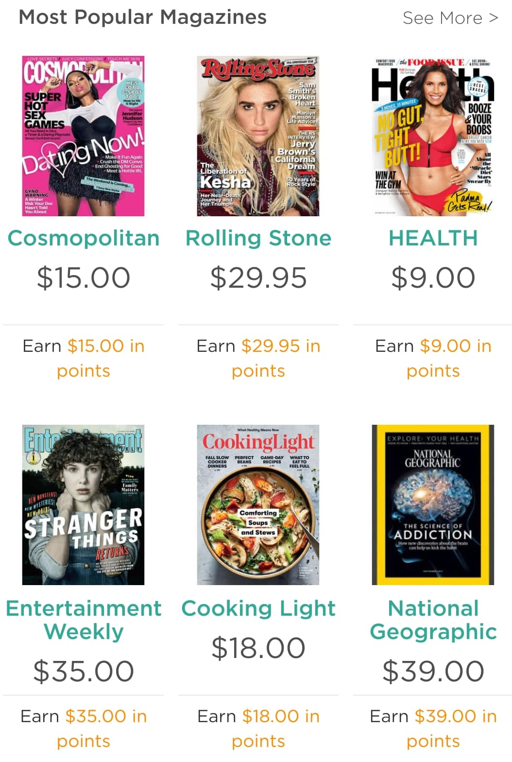 SYW members - 100% back in points on all your favorite magazines
