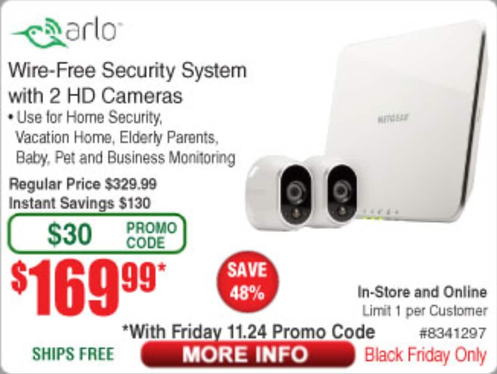 Arlo Security System - 2 Wire-Free HD Camera, Indoor/Outdoor and Night Vision - $169.99 (Black Friday only)