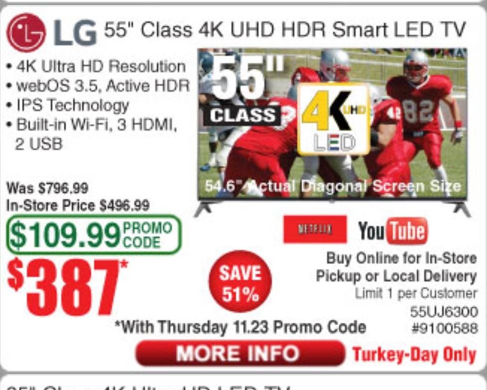 "LG 55"" Class UJ6300 Series 4K HDR Smart LED TV - $387 ( Turkey day only)"