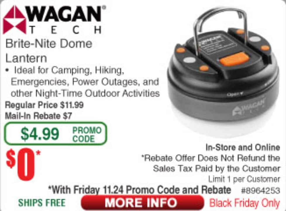Wagan Brite-Nite Dome Lantern - $0.00 after rebate (Instore & Online  - Black Friday)