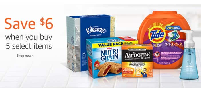 Prime Pantry savings: Buy 5 select items, save $6 on your order @Amazon