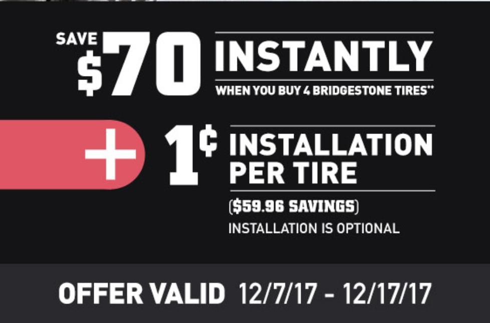 $70 Off 4 sets of Bridgestone Tires + 1 cent installation @Costco Wholesale