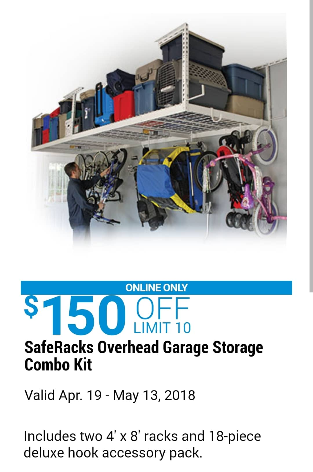 SafeRacks Overhead Garage Storage Combo Kit, Two 4 ft. x 8 ft. Racks on 4x8 overhead storage, garage storage, costco overhead storage,