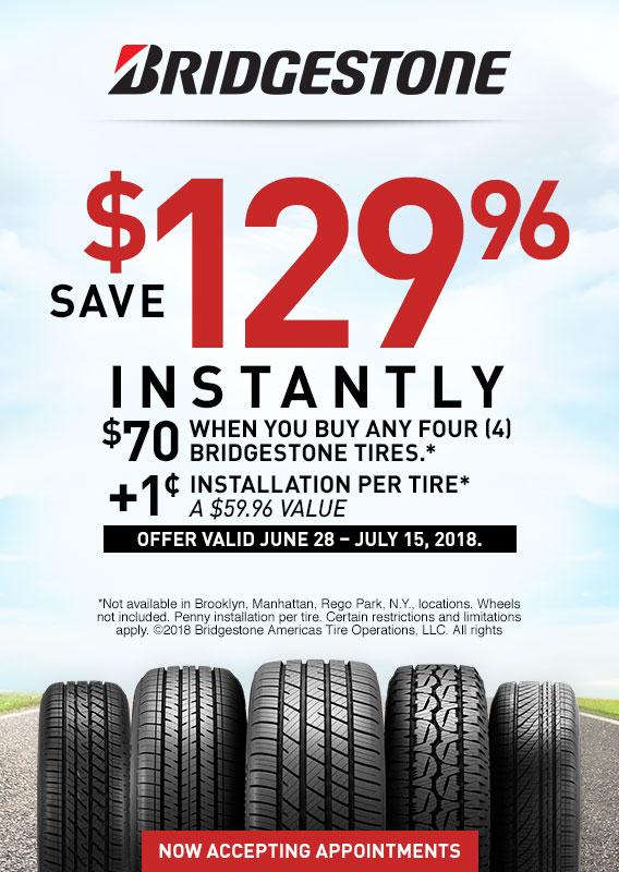 $70 Off 4 Bridgestone tires + 1 cent installation per tire (A $59