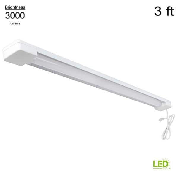 Commercial Electric 3 ft. 1-Light 30-Watt Equivalent White Integrated Utility LED Shop Light with Power Cord (YMMV) $2.88