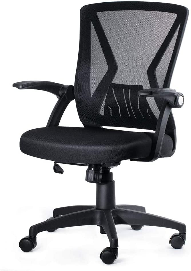 KOLLIEE Mid Back Mesh Office Chair Ergonomic Swivel Black Mesh Computer Chair Flip Up Arms With Lumbar Support Adjustable Height Task Chair $49.49