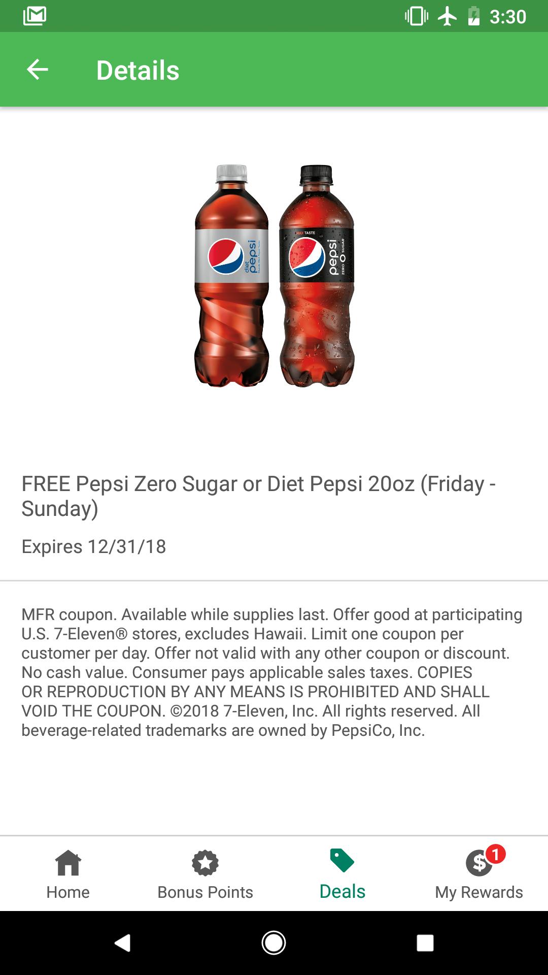 Free 20oz Diet Pepsi or Pepsi Zero Sugar at 7-11 7-Eleven Friday ...
