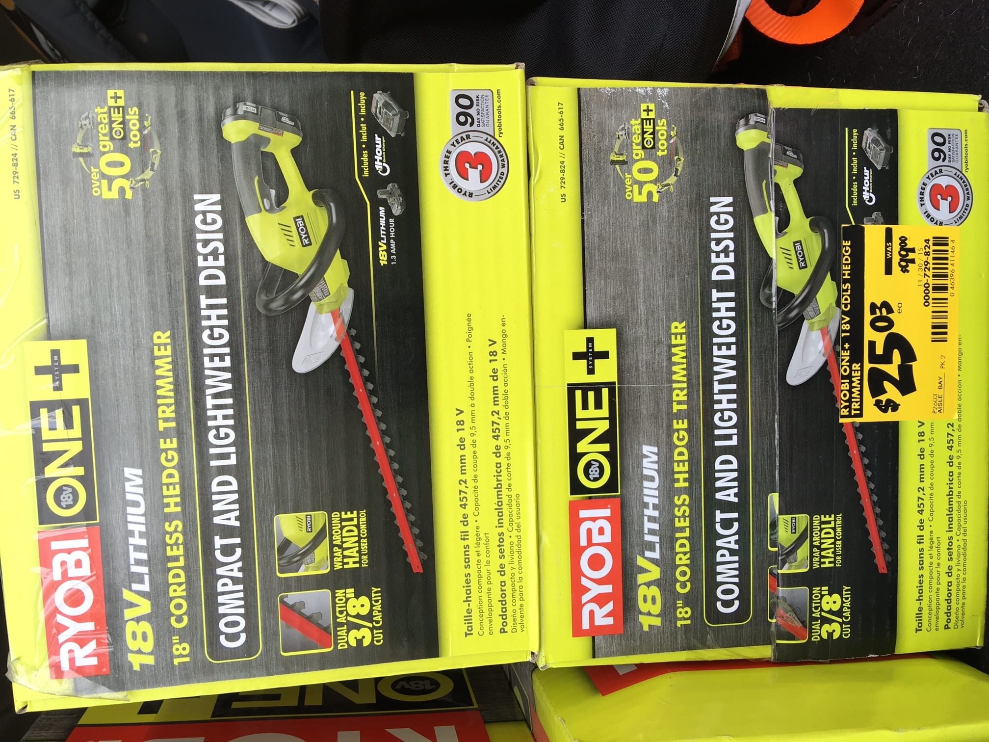 Ryobi 18v cordless hedge trimmer, Home Depot, $25.03 down from $99 B&M, YMMV