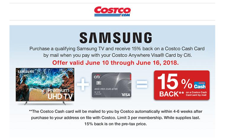 Costco - Samsung TV 15% Cashback using Costco Citi card