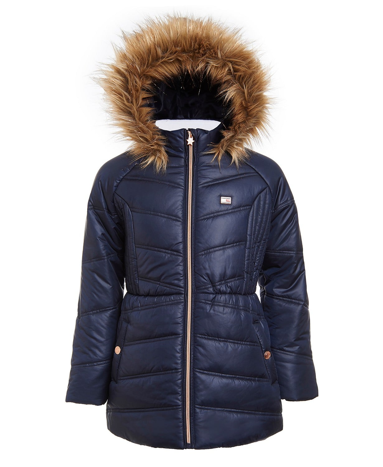Tommy Hilfiger Big Girls Puffer Jacket With Faux Fur Hood $27.5