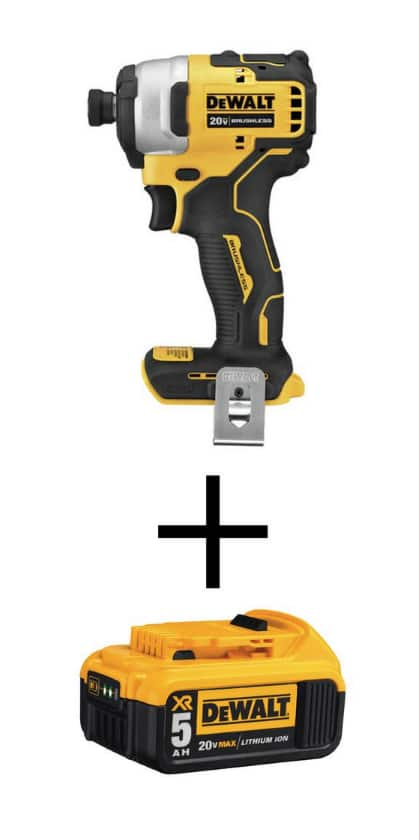 DeWalt ATOMIC 20-Volt MAX Brushless Cordless Compact Impact Driver (Tool-Only) with Bonus 20-Volt MAX XR Li-Ion Battery 5.0Ah - $99