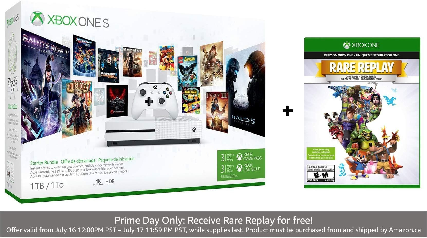 Amazon Prime Day: Xbox One S 1TB Console - Starter Bundle [S 1TB - Starter Bundle] $229.99