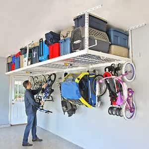 COSTCO MEMBER DEAL $160 PRICE DROP TO $239.99 - SafeRacks Overhead Garage Storage Combo Kit, Two 4 ft. x 8 ft. Racks, 18-piece Deluxe Hook Accessory Pack