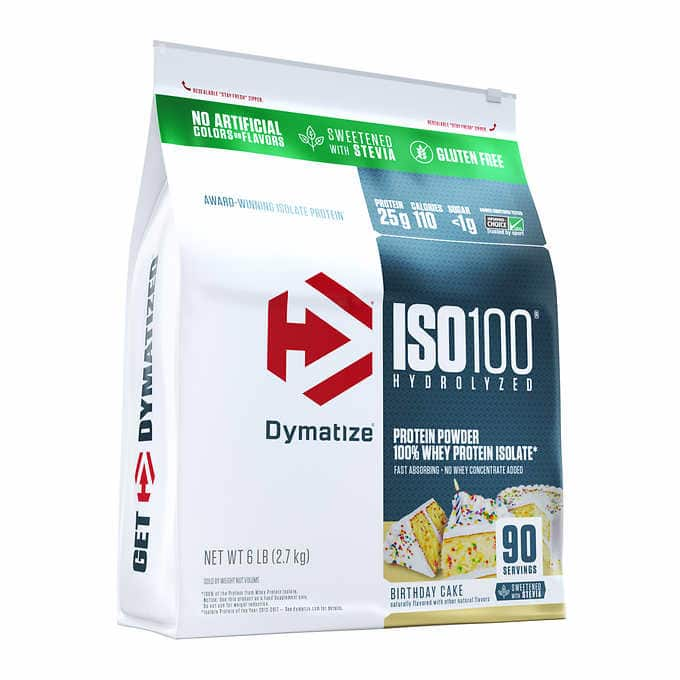Costco online: Dymatize Iso100 100% Whey Protein Isolate (Vanilla or Birthday Cake) 6.3 lbs for 39.97 + Free Shipping$39.97