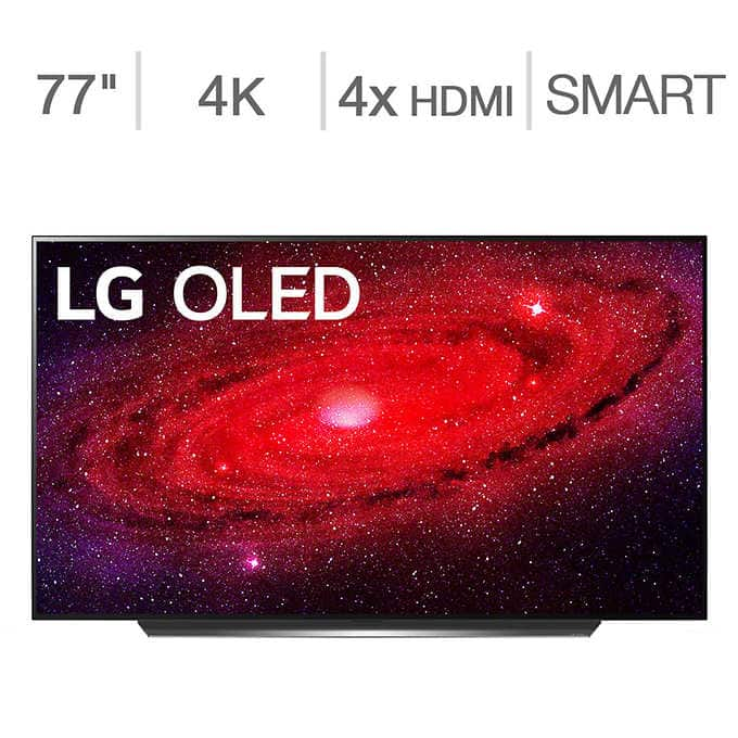 "Costco 77"" LG CX OLED plus 3 year additional warranty for $3,449.99 + $100 Hulu credit + LG XBOOM Go PL5 speaker"