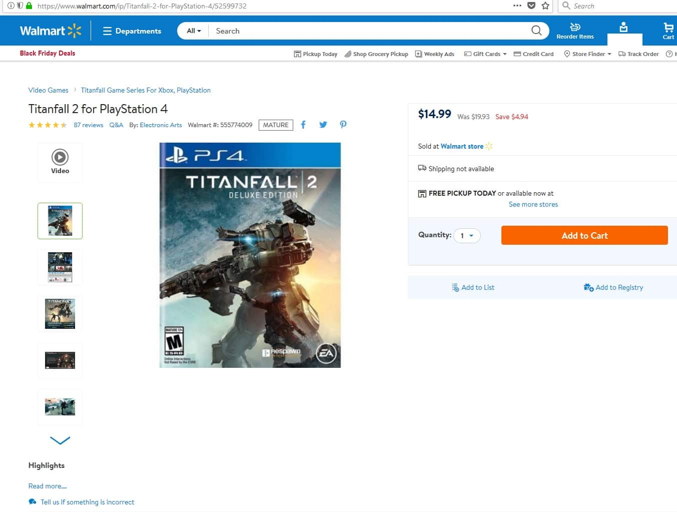 Titanfall 2 Deluxe Edition  (YMMV)(PICK UP ONLY) $14.99