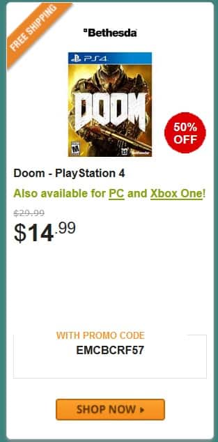 DOOM for $15 (FS with Shoprunner) NEWEGG (PS4/PC/XBONE)