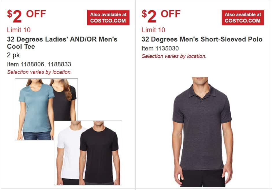 32 Degrees cool tee and polos sale - $8 (Costco store/online) $4/17/2019 - 5/12/2019 Free Shipping