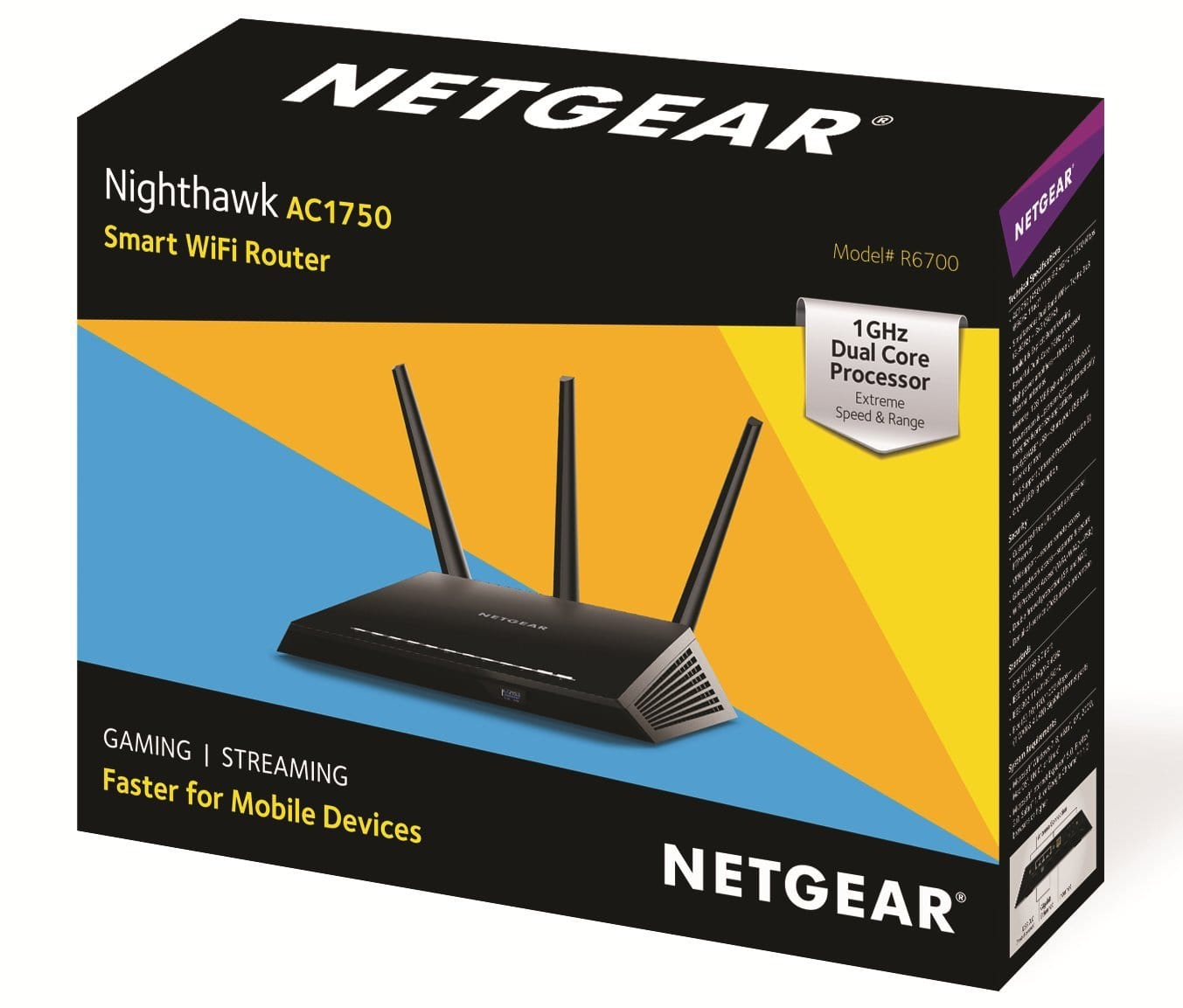 NETGEAR Nighthawk AC1750 Smart Dual Band WiFi Router (R6700)($52)(Amazon)