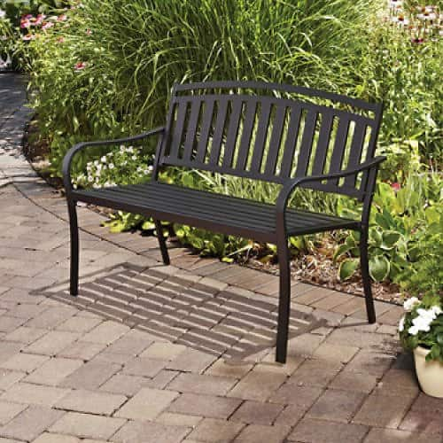 Ideal Mainstays Slat Garden Bench Black fs