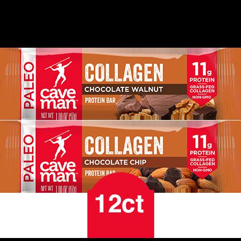 CAVEMAN FOODS Chocolate Walnut / Chocolate Chip Collagen Protein (1.66 OZ.) 12 Bars $3.97