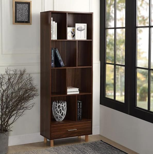 65 in. Espresso Wood 8-shelf Standard Bookcase with Adjustable Shelves $138.75