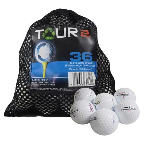 Recycled golf balls $6.79 for 36 count bag. Free ship with Kohls card.