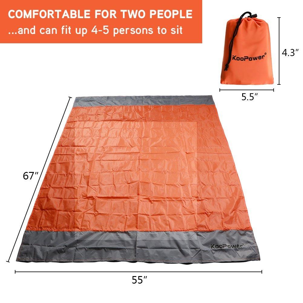 KooPower Compact sand-less Beach/Picnic Blanket - 55″x67″ - $9.99