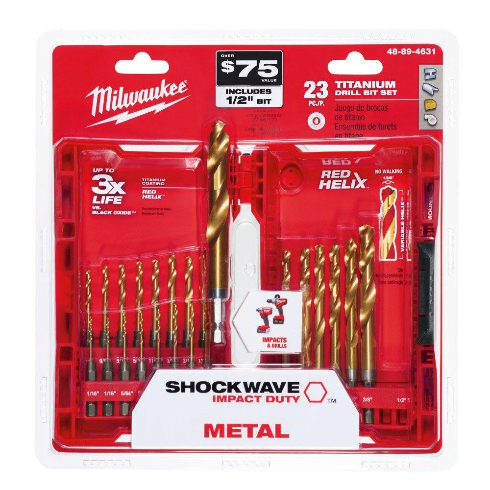 23-Piece Milwaukee Shockwave Red Helix Titanium Drill Bits $17.47 + Free Store Pickup