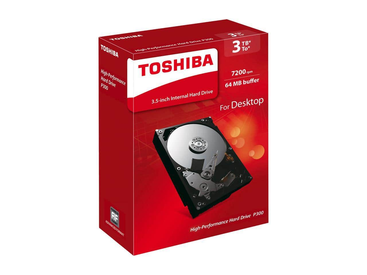 Toshiba P300 3TB PC Desktop Hard Drive 7200 RPM 64MB Cache SATA 6.0Gb/s 3.5 Inch Internal Hard Drive Retail Packaging $78.99