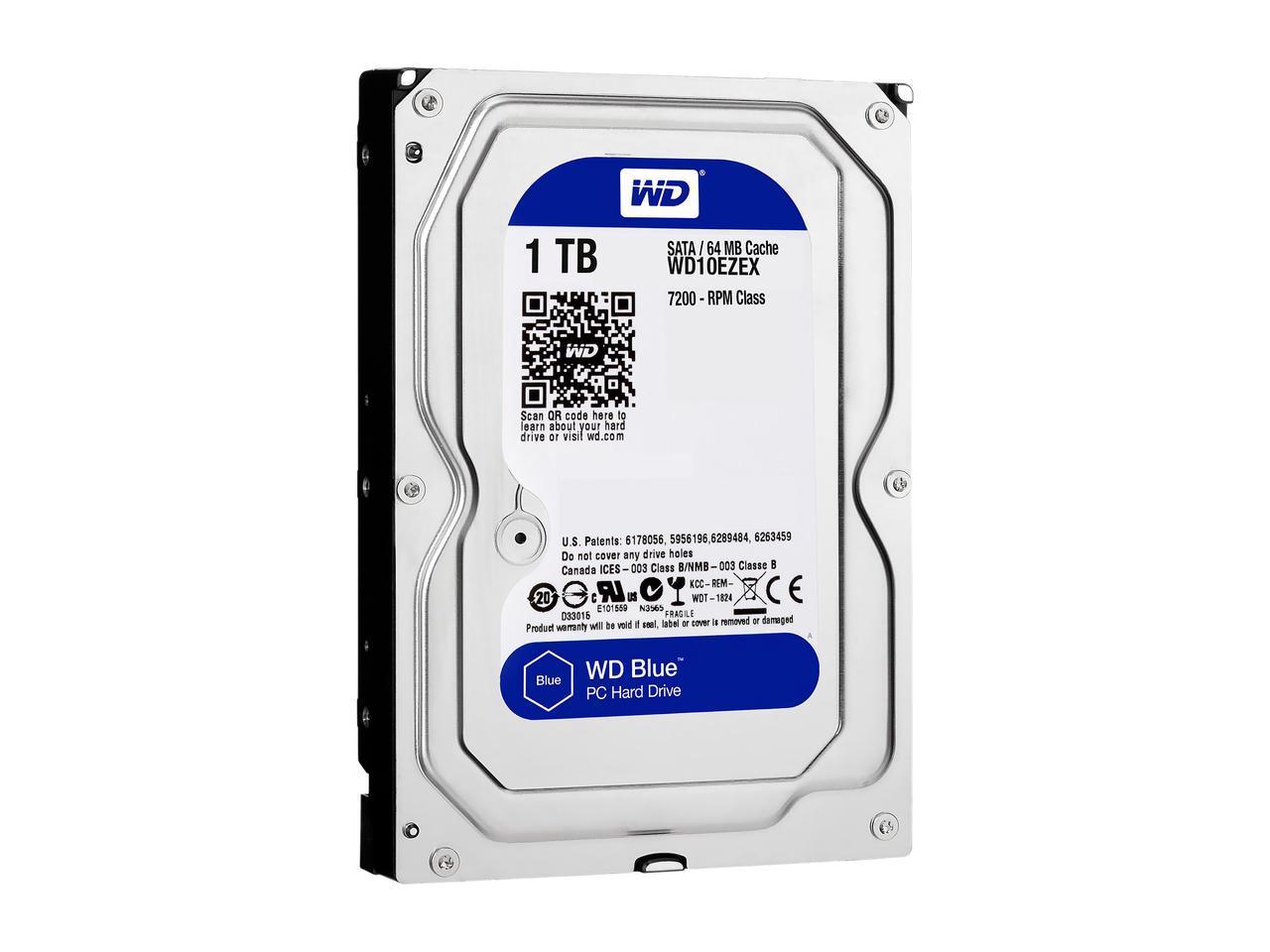 WD Blue 1TB Desktop Hard Disk Drive - 7200 RPM SATA 6Gb/s 64MB Cache 3.5 Inch - WD10EZEX $44.99