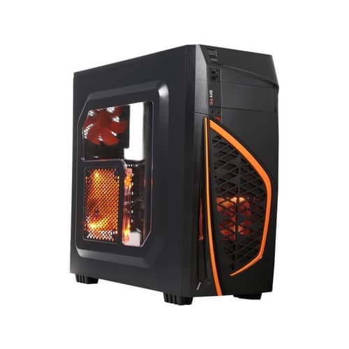 DIYPC Zondda-O Black USB 3.0 ATX Mid Tower Gaming Computer Case with 3 x LED Orange Fans $25.89 AR
