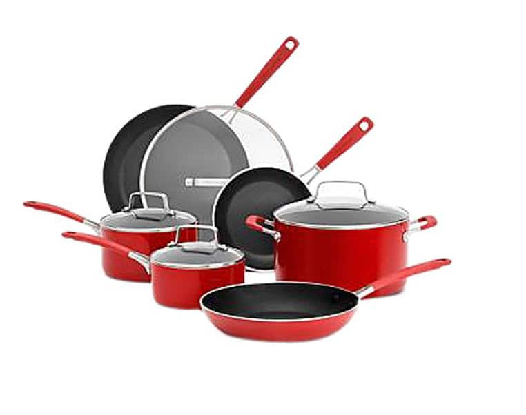 KitchenAid CW Aluminum Nonstick 10-Piece Set, Red $89.99