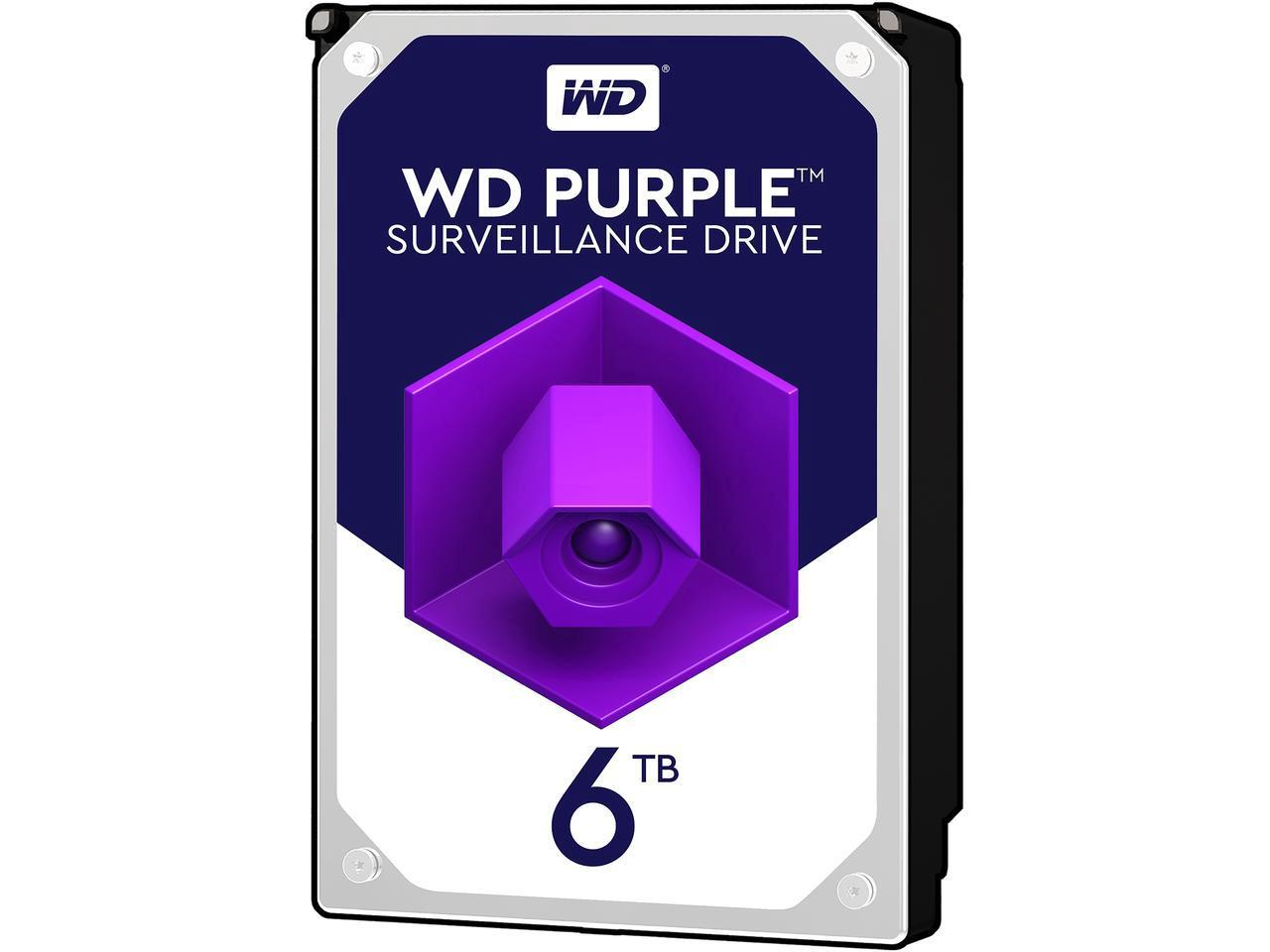 WD Purple 6TB Surveillance Hard Disk Drive - 5400 RPM Class SATA 64MB Cache 3.5 Inch $179.99