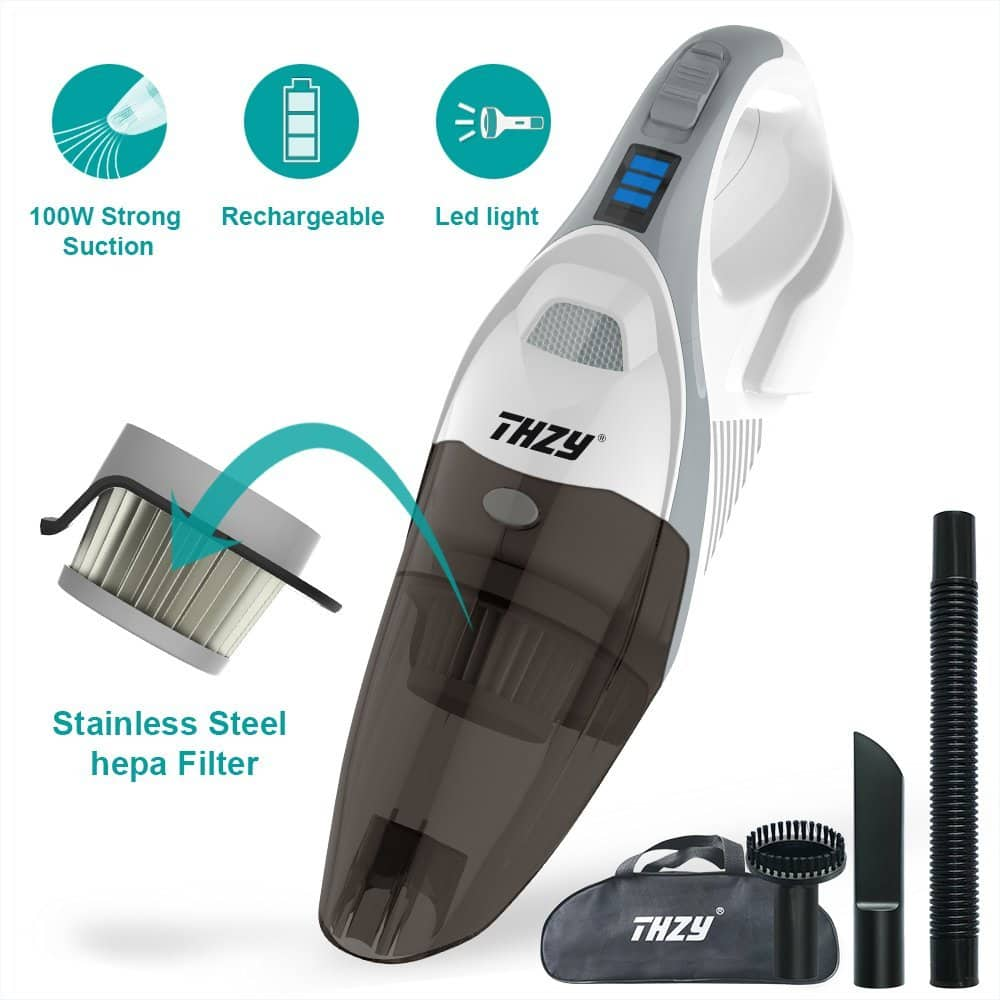 Hand held Cordless Vacuum, Rechargeable 12V 100W Car Cleaner Vac Li-ion Battery Powered Vacuum Cleaner,Powerful Portable Vacuum, Cordless Dust Busters Cleaning  $35.39