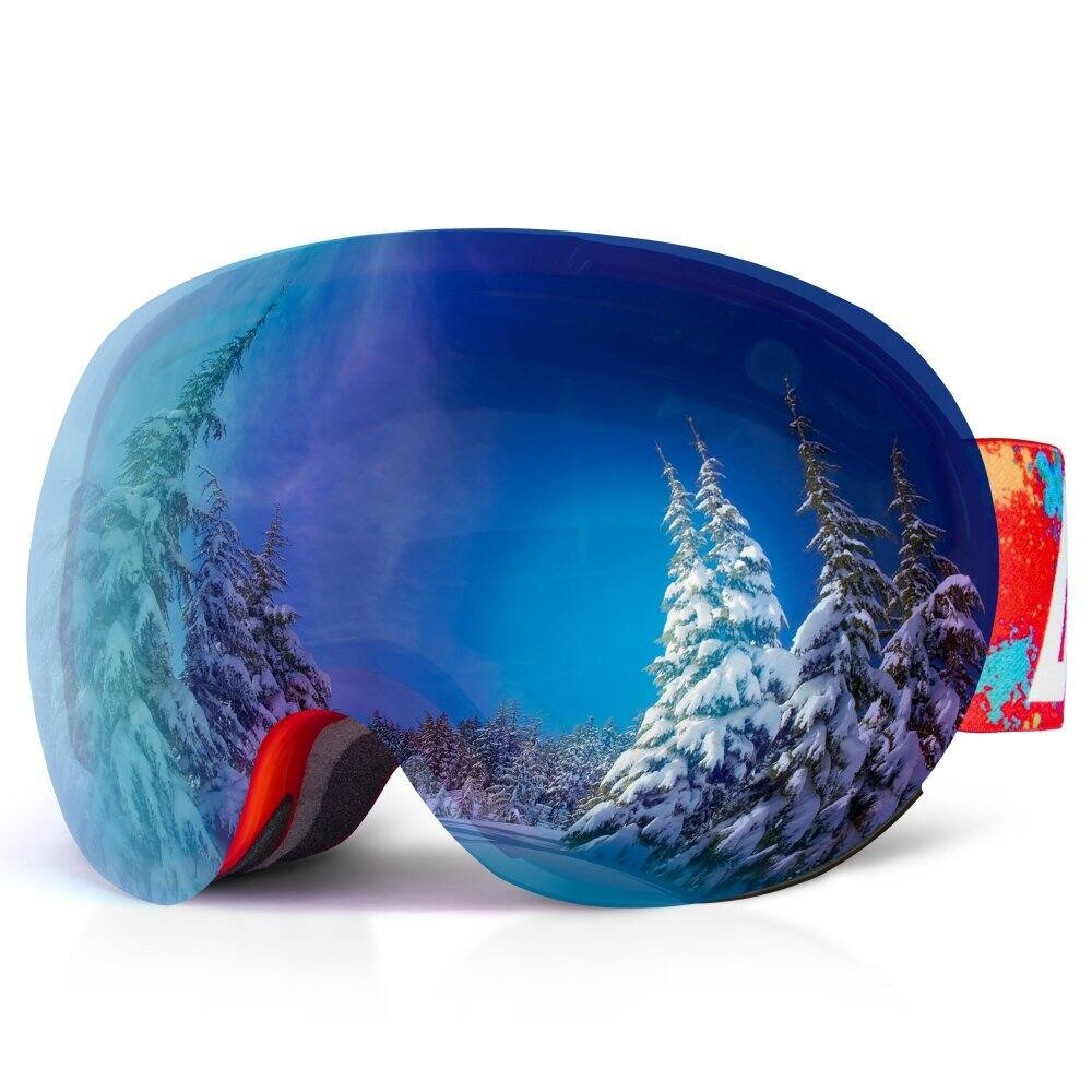 OTG Snow Ski Goggles 2 VLT In 1 Dual Layers Lens 100% UV Protection Anti Fog Detachable REVO Mirror Lens Windproof Snow Goggles for Skiing Snowboard Motorcycle $10.99