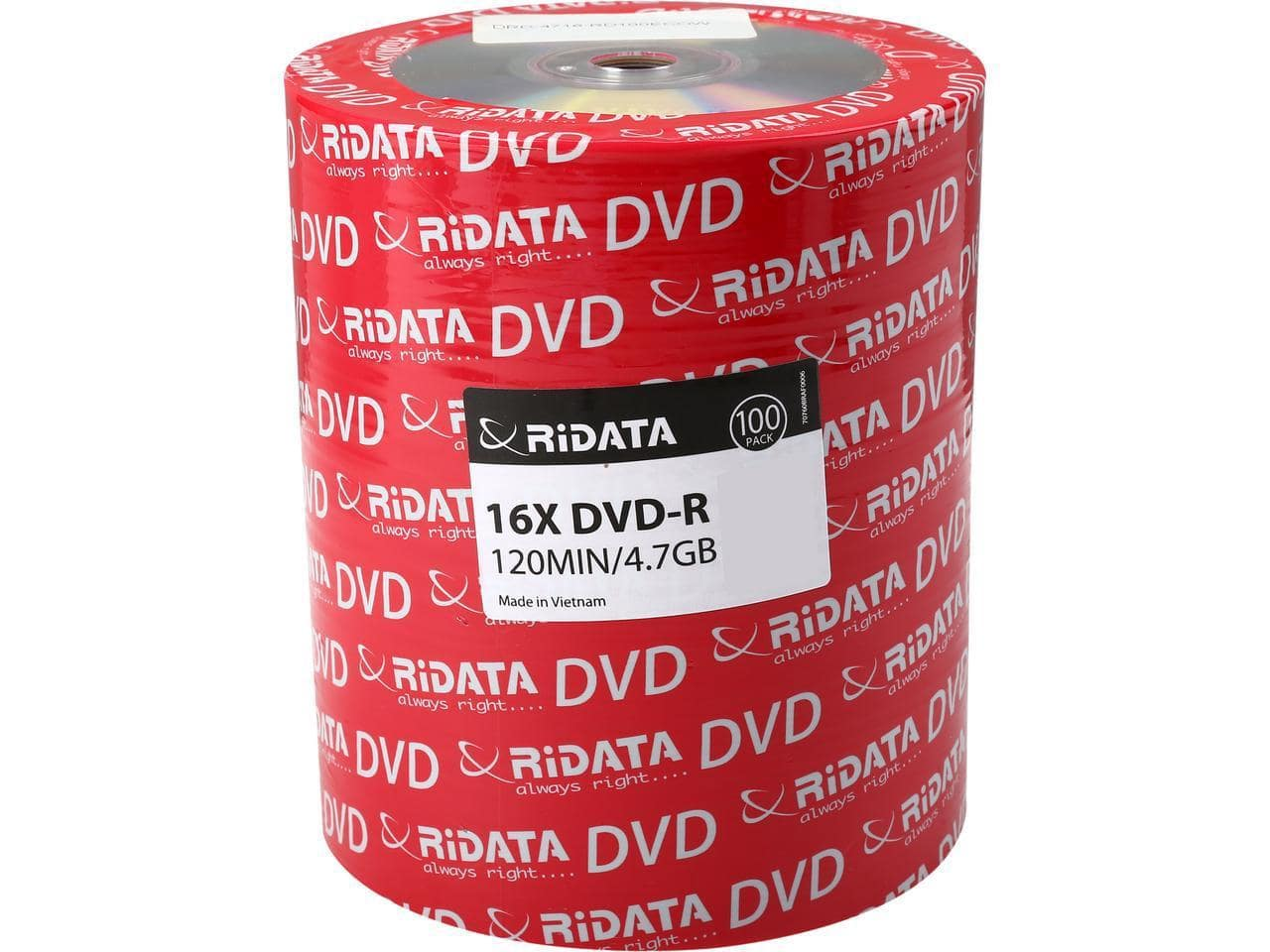 RiDATA 4.7 GB DVD-R 16X  100pk Shrink Wrap $11.99