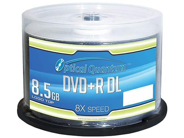 Optical Quantum 8.5GB 8X DVD+R DL 50-Pack Spindle $15.99