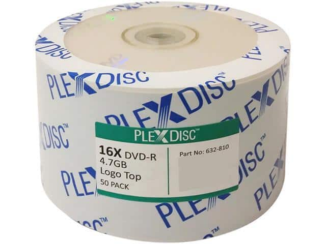 PlexDisc 4.7GB 16X DVD-R 50 Packs Spindle $5.99 + 0.99 Shipping