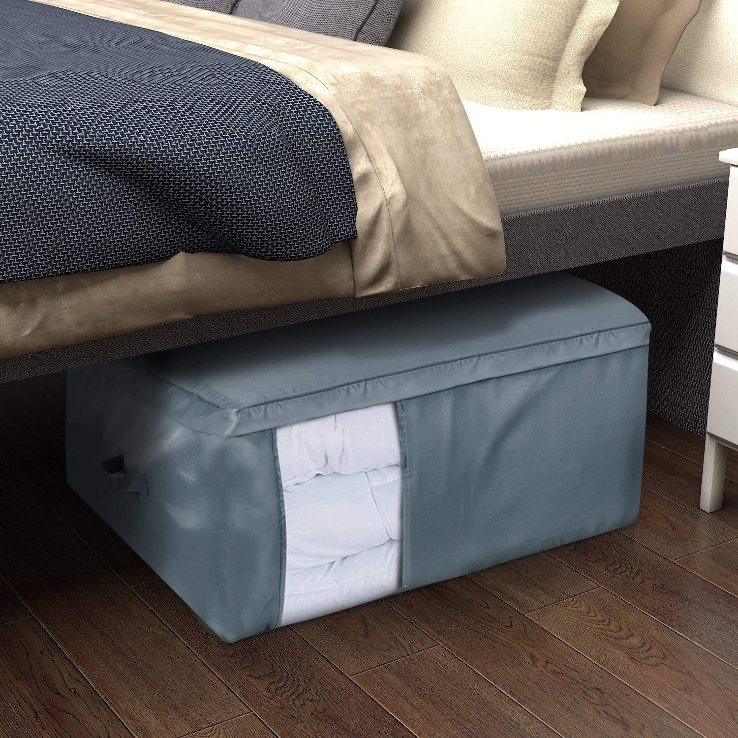 Large Capacity 105l Storage Bag Clear Window Oxford Fabric Underbed Bags Comforters Blankets Bedding Duvets Clothes Quilts Pillows Sweaters