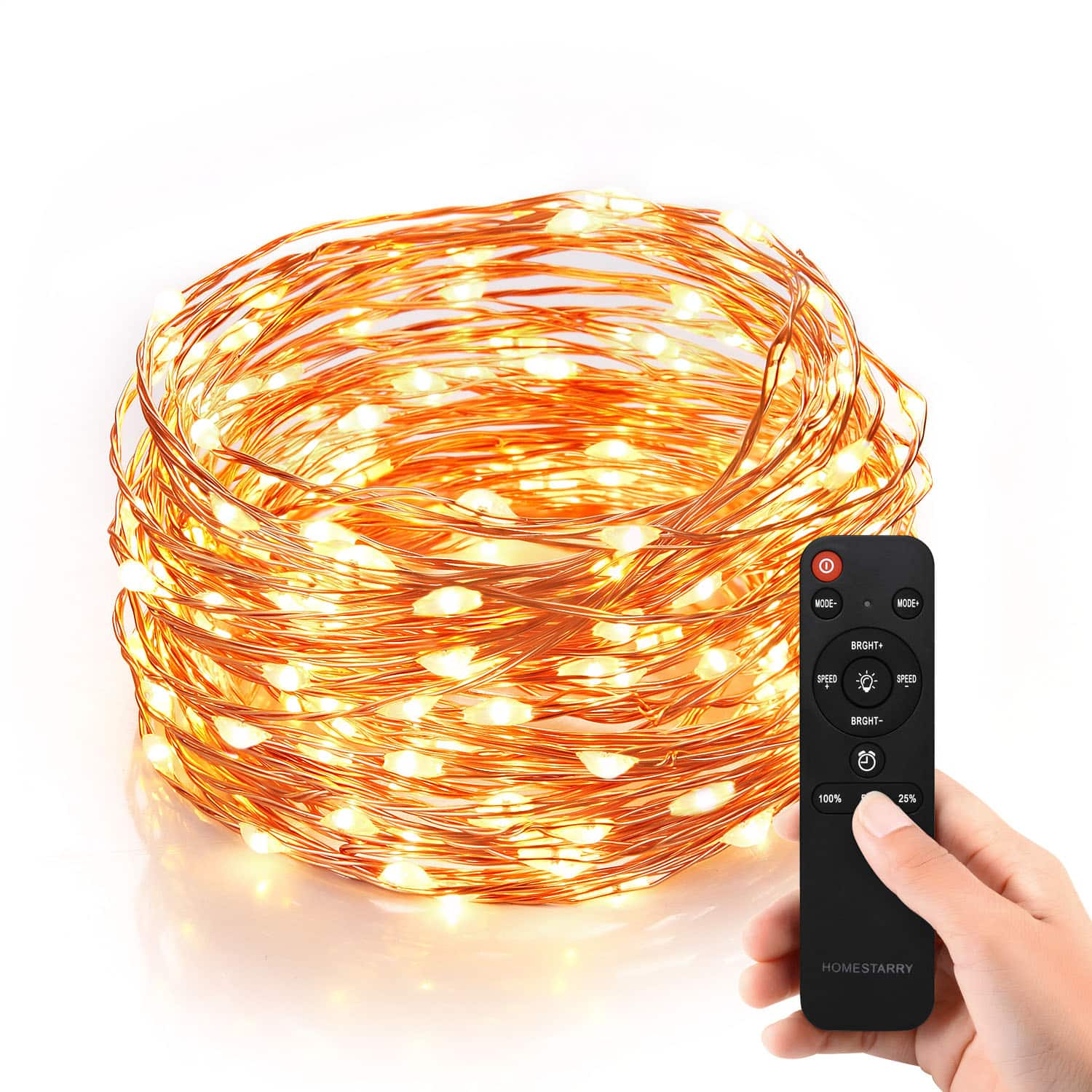 Homestarry HS-SL-010 Dimmable String Lights, 240 LED's Copper Wire, with Wireless Handheld Remote Control for $20.95 @ Amazon