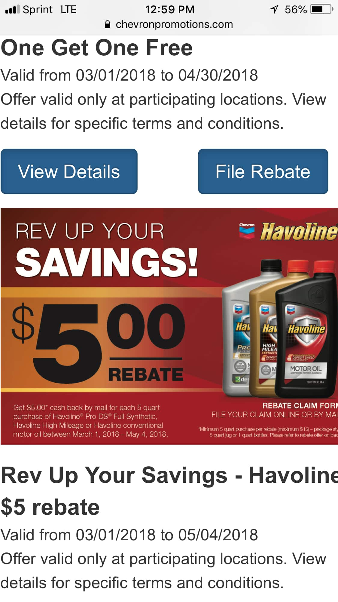 Havoline motor oil various grades $8.97 after mail in rebate