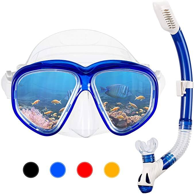 Anti-Fog Snorkel Set with Impact Resistant Panoramic Tempered Glass $10.79 + FSSS