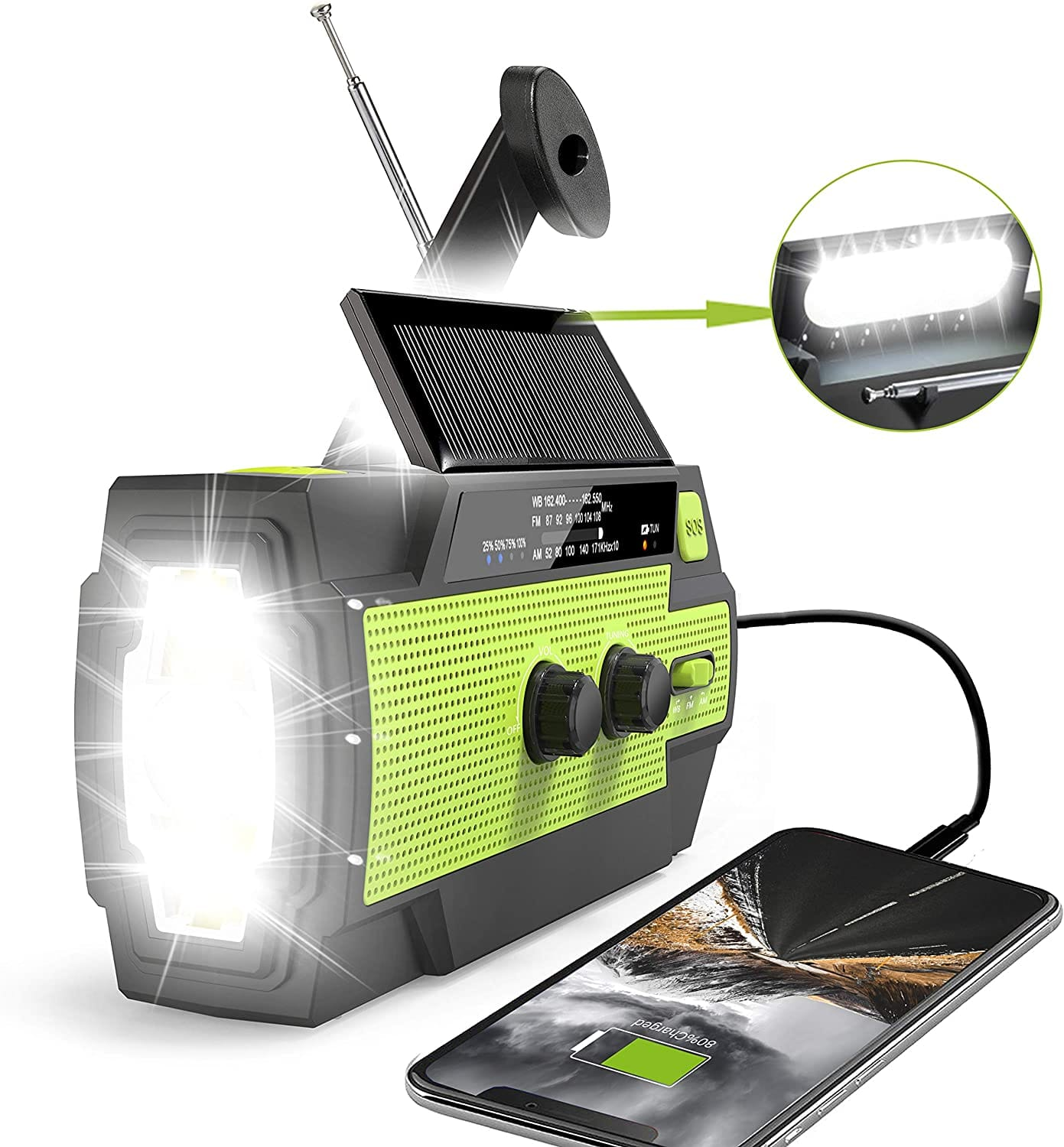 4000mAh Solar Hand Crank Weather Radio with Flashlight & Cell Phone Charger $18.95 + Free Shipping