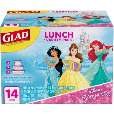 Glad Food Storage Containers, Lunch Variety Pack, Disney Princess, 14 ct $3.98 AC @walmart